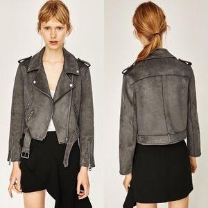 Zara Faux Suede Effect Biker Jacket Grey EUC XS